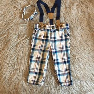 Baby boy pants w/suspenders with matching bow tie